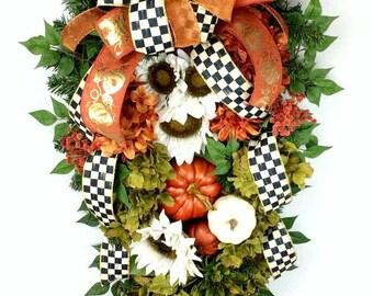 Fall Thanksgiving Swag, Wreath, Autumn, Door Swag, Fall Flowers, Mackenzie Ribbon, pumpkins