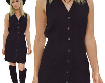 Vintage 80s Compagnie Internationale Express Shirt Vest-Type Dress Sz 3/4