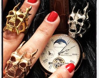 Etherial Sterling Silver Phantom Skull Ring Skull Ring Gold Skull Ring Silver Devil Ring Phantom of the Opera Ring Gold Skull Devil Ring