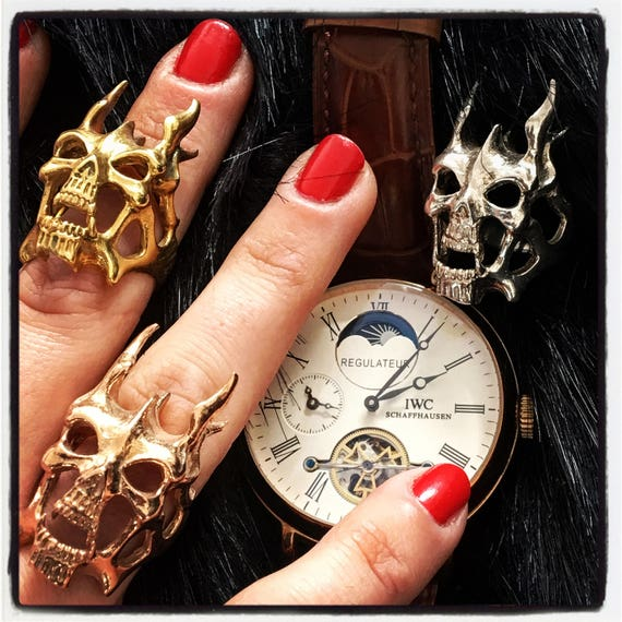 Etherial Jewelry - Rock Chic Talisman Luxury Biker Custom Handmade Artisan Pure Sterling Silver .925 Handcrafted Badass Designer Skull Ring