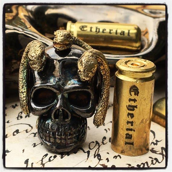 Etherial Jewelry - Rock Chic Talisman Luxury Biker Custom Handmade Artisan Pure Sterling Silver .925 Bespoke Handcrafted Skull Medusa Ring