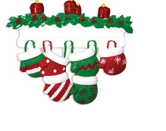 6 Family Red and Green Mittens Ornament / Personalized Christmas Ornament / Family of Six Mittens on Mantel / Grandchildren
