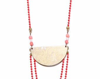 Moon long necklace red