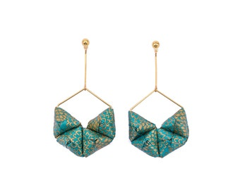 Origami earrings; Origami jewelry, Origami jewellery; Origami; Paper Jewelry; Washi; Japan; Chiyogami; Trendy jewelry; Choose Gold or Silver
