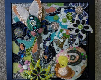 Baby with Fly Dreams - Beaded Mosaic Framed ART - wall hanging mohawk baby floral flowers bead mixed media assemblage beadwork flies insect