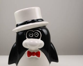 Vintage Ceramic Penguin Piggy bank/ tuxedo penguin with tophat/ Red bowtie/ Dapper Penguin