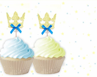 Prince Crown Cupcake Toppers - Crown Cupcake Toppers, Prince Cupcake Toppers, First Birthday Cupcake Toppers, Prince Birthday, Little Prince
