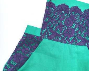 Green linen dungarees with purple lace UK size 12-14  jade culotte trousers dungaree jumpsuit handmade by The Emperor's Old Clothes