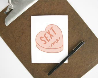 Sext me card - Valentine's Day greeting card - mature love card for adults - Valentine for boyfriend or husband