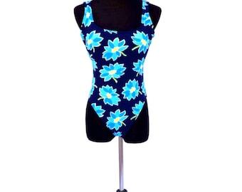 90's vintage navy blue daisy flower floral printed open back hi cut Jantzen one piece bikini bathing suit swim suit LARGE