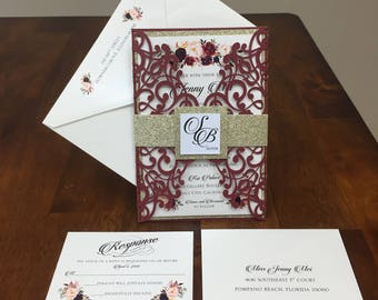 Beautiful Marsala Burgundy shimmer wedding invitation set: Includes laser cut pocket, gold glitter belly band, printed invite & envelope