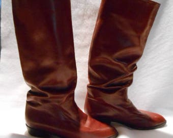 Vintage Cole Haan Russet Brown Calfskin Cossack Style Pull On Ladies Dress Boots, 8 1/2 M, c. 1980