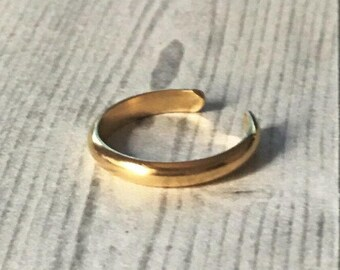 14K Gold Toe Rings, Adjustable Toe Rings, Foot Jewelry, Wide Half Round Toe Ring, 2.6mm, Real Gold Toe Ring