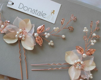 Rose Gold Bridal Headpiece  ,Flower Hair pins, Champagne Blush Hair pins, Wedding Hair vine,Orchid  hair pins,  headpiece - CHANTAL