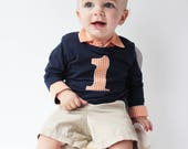 Baby Boy Outfit Navy and Orange - FIrst Birthday Outfit - Baby Boy Cake Smash - Baby Boy Birthday Shirt