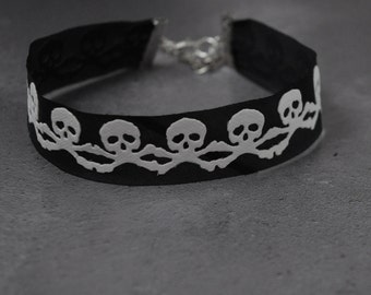 Skull and Cross Bones Choker Necklace, Handmade Silk and Faux Leather Gothic Necklace