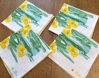 "4 Vera Neumann Napkins, Water Lilies Vintage Printed Cotton, Four 16"" Cloth Dinner, Aqua Blue Green Yellow Retro Kitchen"