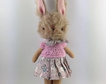 Mohair bunny - Bunny doll - Brown bunny