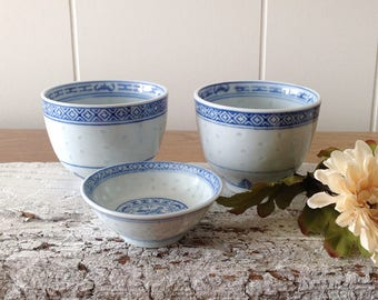 Vintage Chinese Rice Grain Dragon Pearl Porcelain Teacups (2) And Small Dish, Asian Blue, White, Rice Pearl China Dragon Dishes