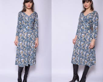 Vintage 90's  Bird Print Dress / Blue Flared Long Dress - Size Large