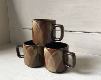 Coffee Mugs | Set of Three 1970's Cups | Vintage Mid Century Coffee Cups | Hand Painted Ceramic Mugs | Made In Philippines Coffee Mugs