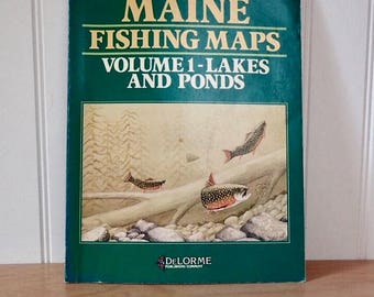 Maine Fishing Maps Volume 1 Lakes & Ponds Book DeLorme Father's Day Man Cave Lake House Camp Decor Collage Upcycle Supply Paper Ephemera