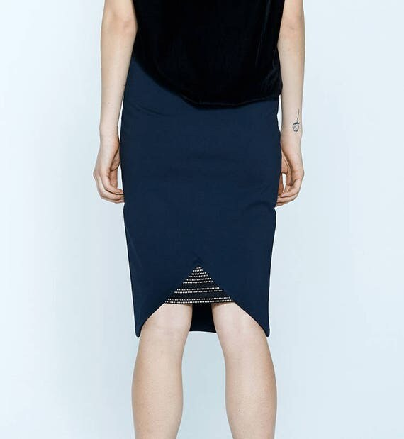 MARTINI - body-conscious skirt, stretch skirt, midi skirt for women - navy blue