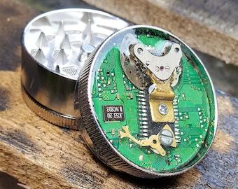 CyberPunk  Herb Grinder -  CyberPunk Virus - Metal Herb Grinder - pepper grinder