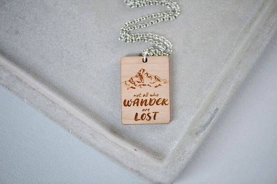 Not All Who Wander Are Lost - Bamboo Wood Necklace - Free Postage Shipping - Travel Necklace - Travellers Wanderlust