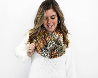 Infinity Scarf Cowl, Chunky Knit Scarf, Knitted Scarves- Cheverly Cowl