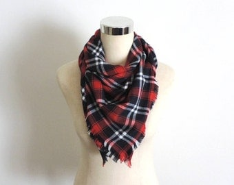 Plaid Flannel Scarf Large Square Flannel Scarf Red Navy