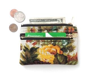 Slim Wallet Pouch Double Zipper Coin Purse Floral Linen