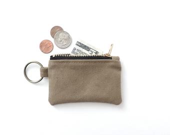 Canvas Keychain Coin Purse Tan
