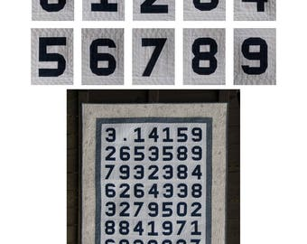 Paper Pieced Numbers and Pi Quilt - digital quilt pattern - patterns for numbers 0-9 in 3 sizes plus pi quilt instructions