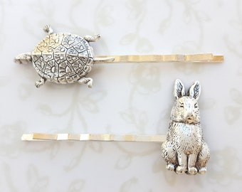 Tortoise & Hare Bobby Pins, Aesop's Fable, Teacher Gift, Librarian, Childhood Story, Woodland Creatures, Easter, Rabbit, Turtle, Spring