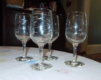 "Libbey Rock Sharpe ""Interlude"" Wine Glass Set of 4"