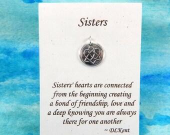 Tiny Sisters Charm, Inspirational Jewelry, Celtic Sister Knot Charm, Celtic Jewelry, Sister Jewelry, Tiny Fine Silver Charm