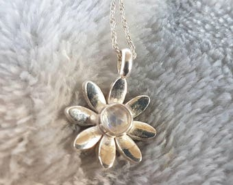 Silver moonstone daisy necklace // solid silver flower pendant