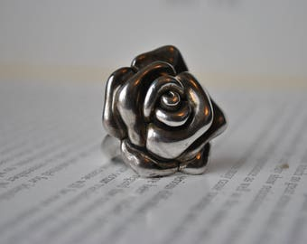 Vintage Sterling Rose Ring - 1970s Silver Rose Ring