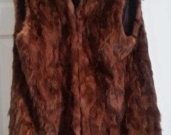 Unique womens  long brown mink fur vintage vest in medium