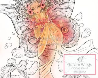 Digital Stamp - Crimson Wings - Indian Moth Fairy in Sari with Poppies - Fantasy Line Art for Cards & Crafts by Mitzi Sato-Wiuff