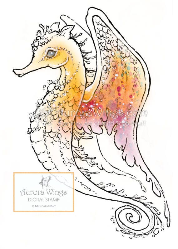 Digital stamp whimsical seahorse with wings instant for Immagini cavalluccio marino