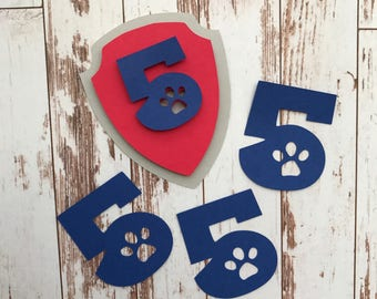 Paw Patrol 12 pcs Badge and Number 5 Die Cut/Birthday Party Decoration/Embellishment/Cake Topper - 5 Years old
