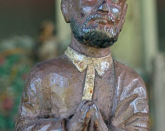 Antique Santos Carving of a Male Saint, 19th or Early 20th Century