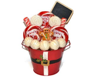 Santa Gingerbread Man Christmas Candy Centerpiece, Christmas Candy, Holiday Lollipop Centerpiece, Gift Idea, Hostess Gift