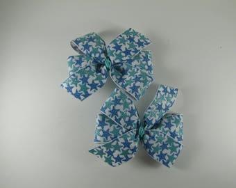 Starfish Pinwheel Bows, Beach Pigtail Bows, Teal Summer Hair Clip Set, Summer Photo Prop, Girl Gift Under 10, Beach Vacation Hair Bow