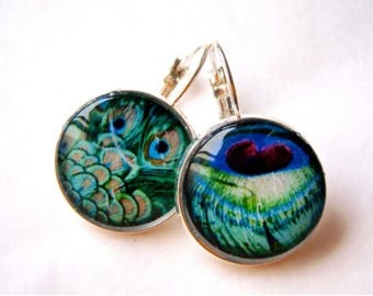 Earrings, stud earring, silver-plated, cabochons, peacock feathers.