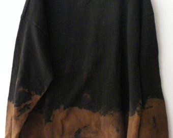 Black Dip Dyed Sweatshirt, Black Crewneck Sweatshirt, grunge sweatshirt, ombre crewneck, Hipster, Extra large. Acid wash, Father's Day