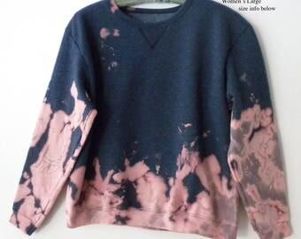 Womens tie dye Sweatshirt, Crewneck sweatshirt, Blue Sweatshirt, Pink, Boho, Acid wash, dip dye, retro, Boho, jumper, sweater, tie dye pink