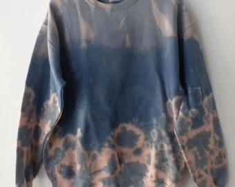 Tie dye blue gray Sweatshirt, Acid wash sweatshirt, Pink dip dye crewneck sweatshirt, Grunge, sweater, jumper, hipster, boho, Rocker, gray